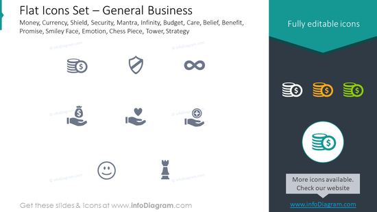 Flat icons set: general business money