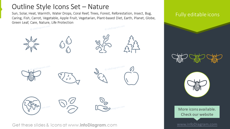 Outline style icons set: nature sun, solar, heat, warmth