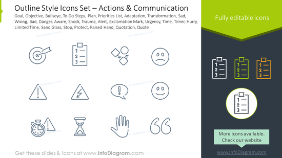 Outline style icons set: objective, bullseye, To-Do steps, plan