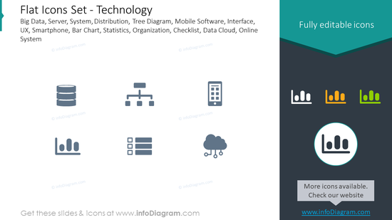 Flat icons set: technology big data, server, system