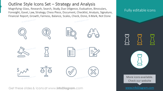 Outline style icons set: magnifying glass, research, search, study