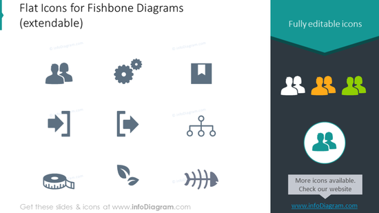 Flat icons for fishbone diagrams