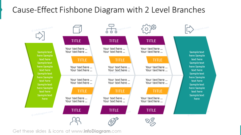 2 Level branches illustrated on fishbone diagram