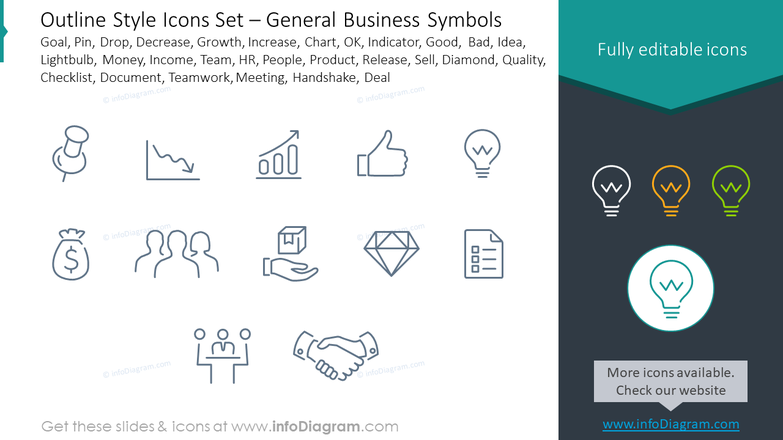 Outline style icons set: goal, pin, drop, decrease, growth