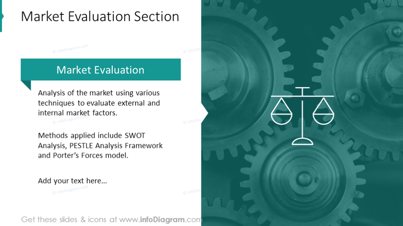 Market evaluation section slide illustrated with picture background