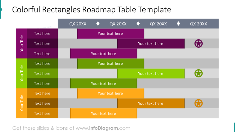 Colorful roadmap illustrated with a table