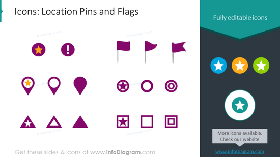 Example of location pins and flags graphics