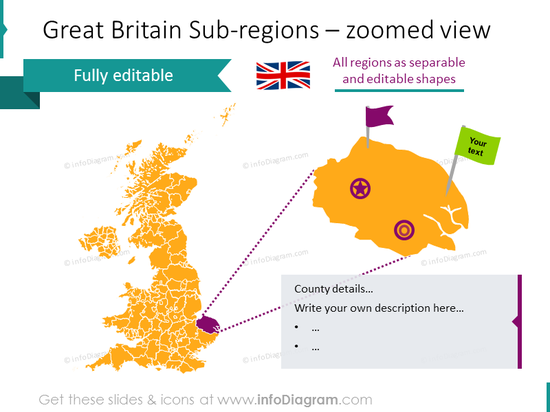 Great Britain sub-regions zoomed map with a text description