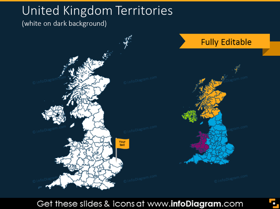 United Kingdom territories map on the dark background