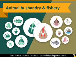 Food and Agriculture icons - Animal husbandry, Fishery (PPT flat clipart)