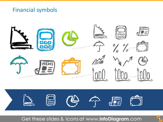 Pencil handdrawn financial symbols