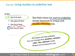 Markers to underline text - usage example