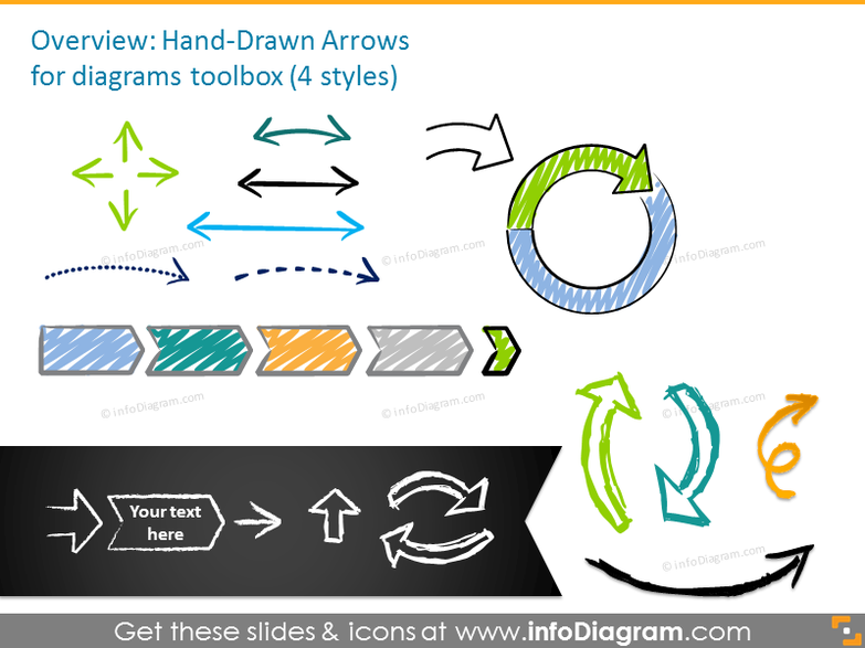 Handdrawn arrows set in four styles