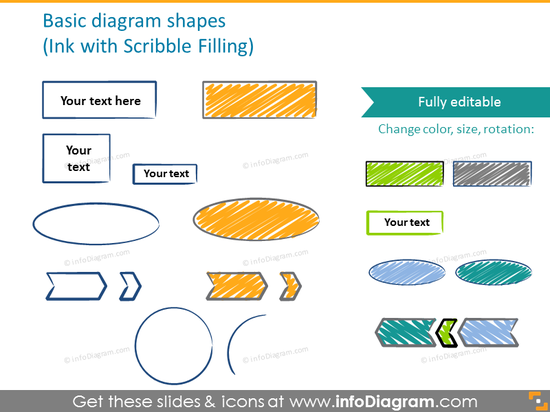 Basic diagram shapes with scribble filling