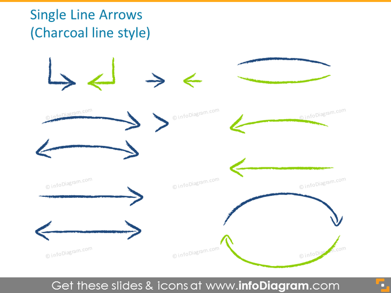 Single line arrows in charcoal line style