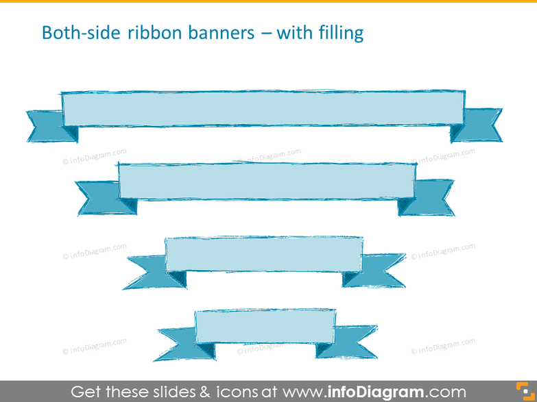 Both-side ribbon banners with filling