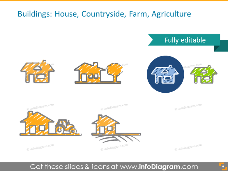 Buildings icons set: House, Countryside, Farm, Agriculture