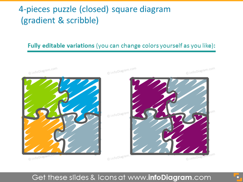 4-pieces puzzle square diagram with gradient and scribble filling