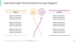 Interlaced light vertical switch arrows slide with outline symbols