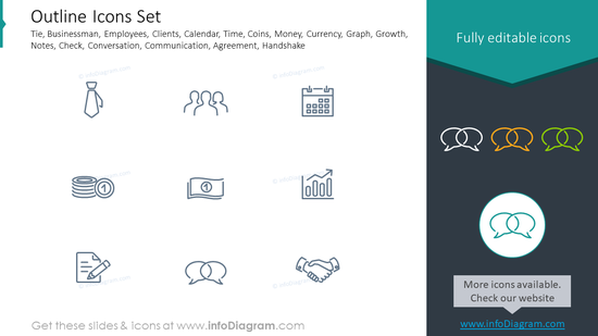Outline icons: businessman, employees, clients, growth, notes