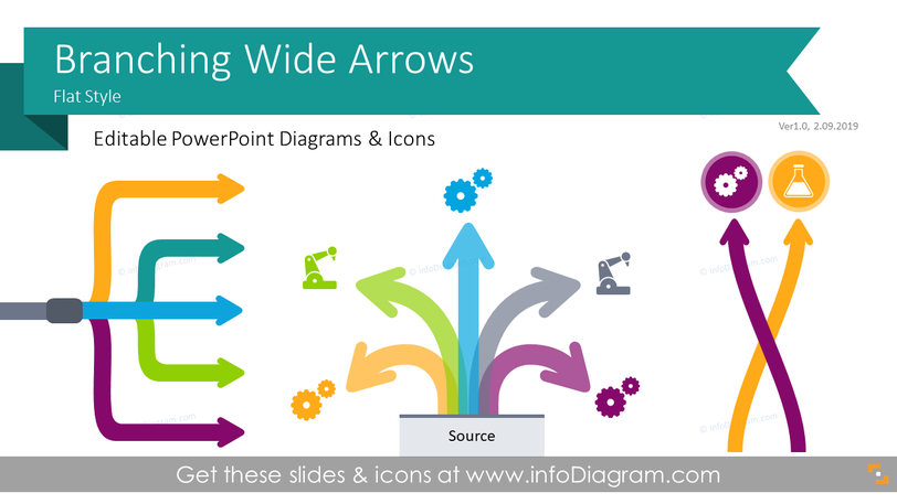 Branching Wide Arrows for Process Block Flow Charts (PPT Diagrams)
