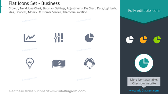 Flat icons set: business growth, statistics, settings, adjustments