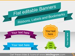 Flat Banners Ribbon Metro Style Infographics Titles (PPT shapes)