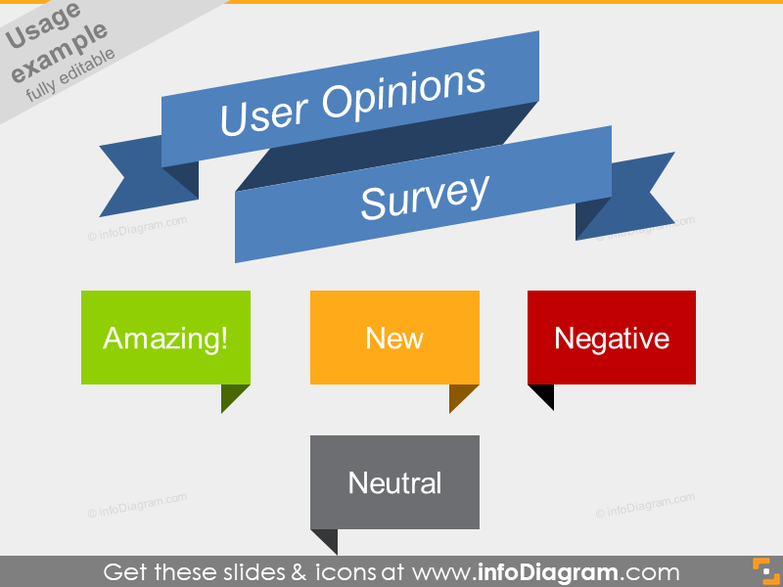 User Opinion Positive Negative Survey Banners Flat Ribbons PPT icon
