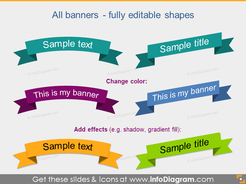 Flat Banners Ribbons Metro Style Infographics Titles PPT