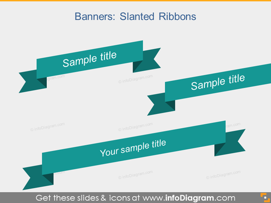 Slanted Ribbon Banner Infographic Title PPTX icon