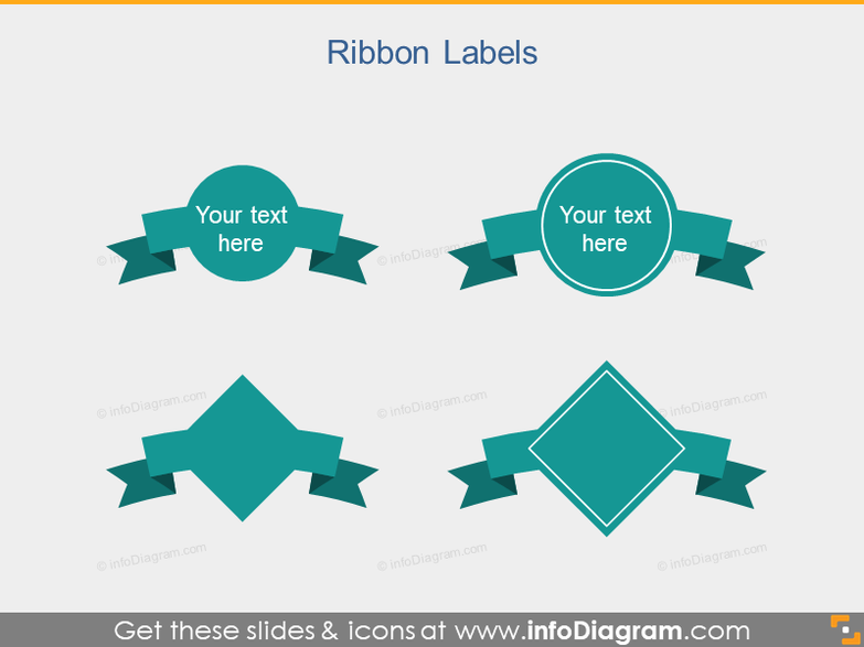 Ribbons Label Circle Rhombus PowerPoint icon