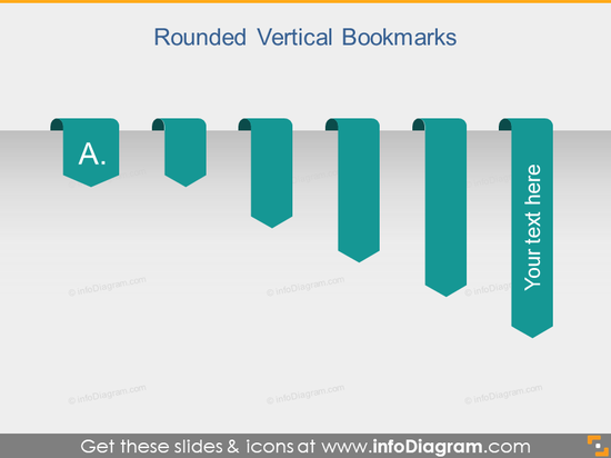 Vertical Ribbon Bookmark Flat Banner pptx clipart