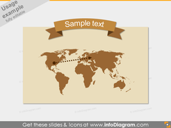 World Trip Map Flat Arc Banner Ribbon Brown Style PPT