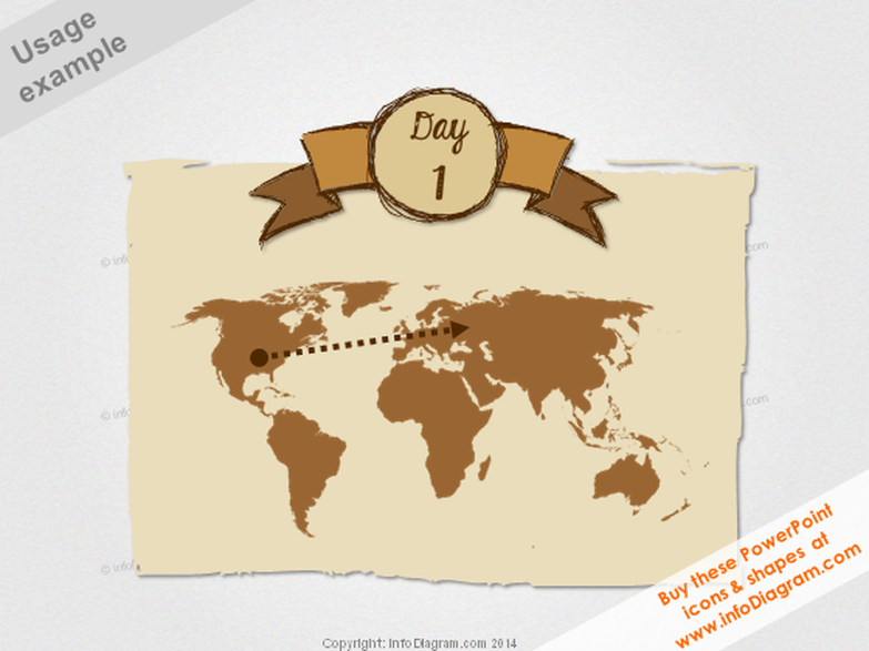 Retro World Map Sketch Banner Day Trip PPT clipart