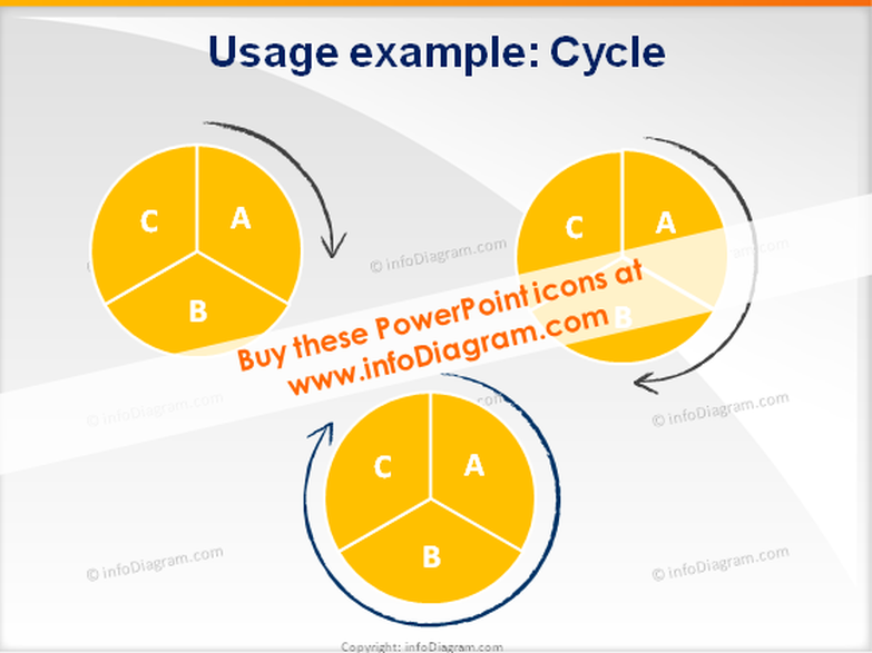 cycle phases arrows icons ppt clipart charcoal