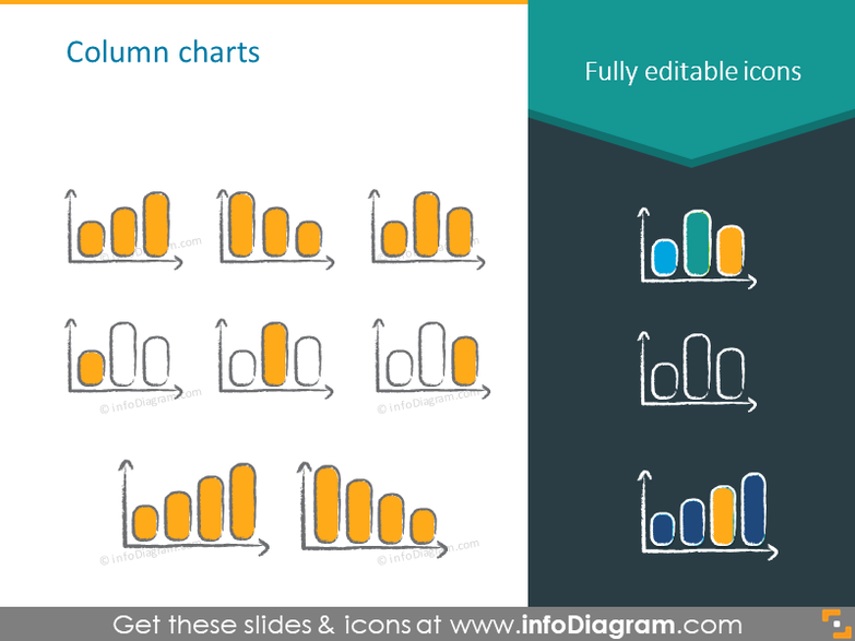 column chart charcoal symbols handwritten pictograms icons ppt clipart