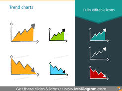 trend chart up down charcoal symbols handwritten pictograms icons ppt