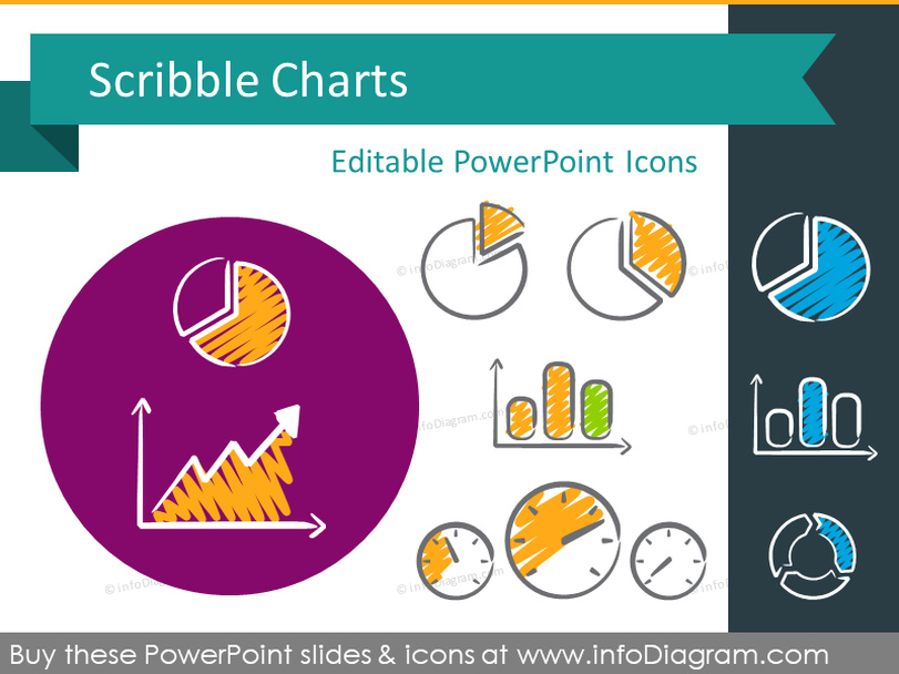 Scribble Charts (PPT icons & clipart)