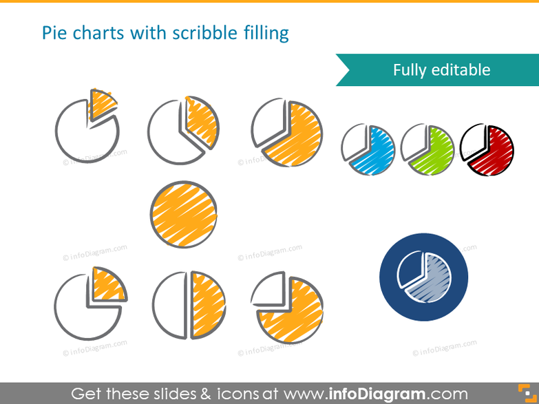 scribble pie chart symbols handwritten pictograms icons ppt clipart