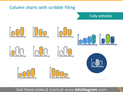 scribble column chart symbols handwritten pictograms icons ppt clipart