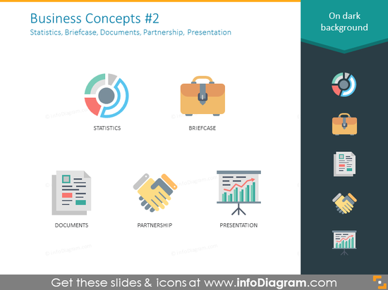 Business concept icons: statistics, briefcase, documents, partnership