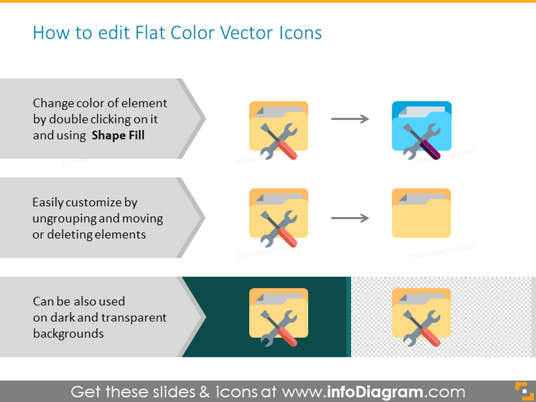 How to edit Flat Color Vector Icons