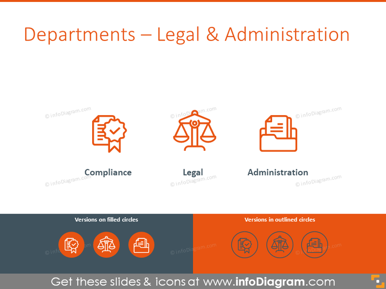 Legal and administration symbols: compliance, legal, administration