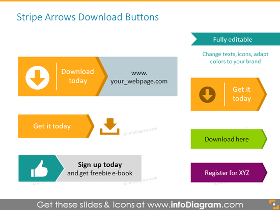 Download buttons illustrated with color arrows