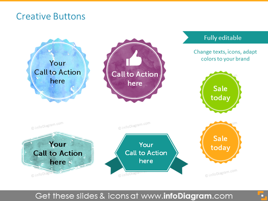Example of creative call to action buttons with icons