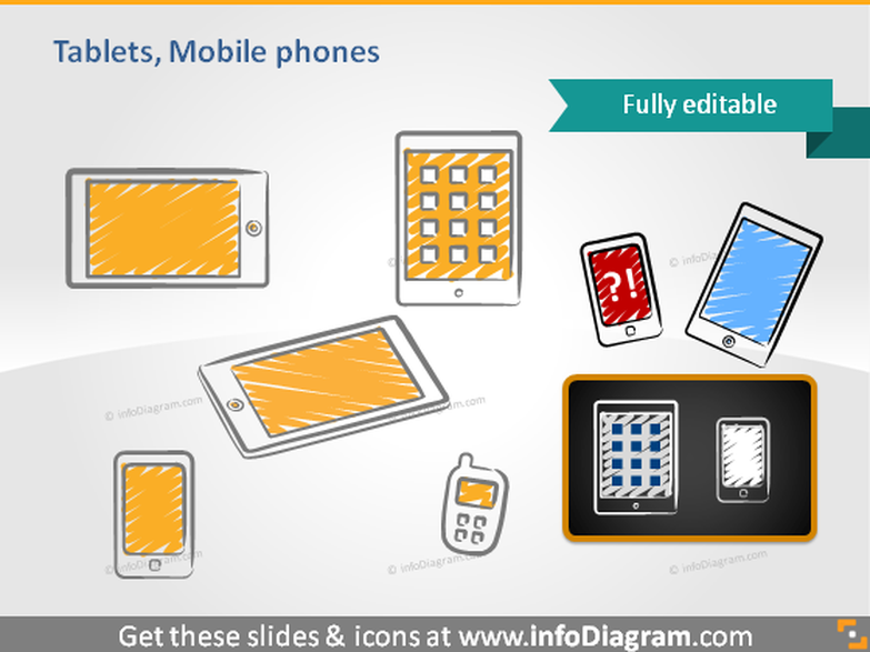 Tablet ipad Mobile SmartPhone Cell phone handwritten icon ppt