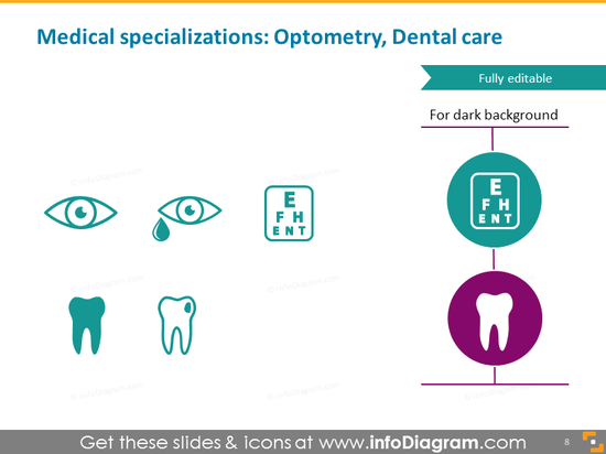 Medical specialist ophthalmologist dentist dental icon