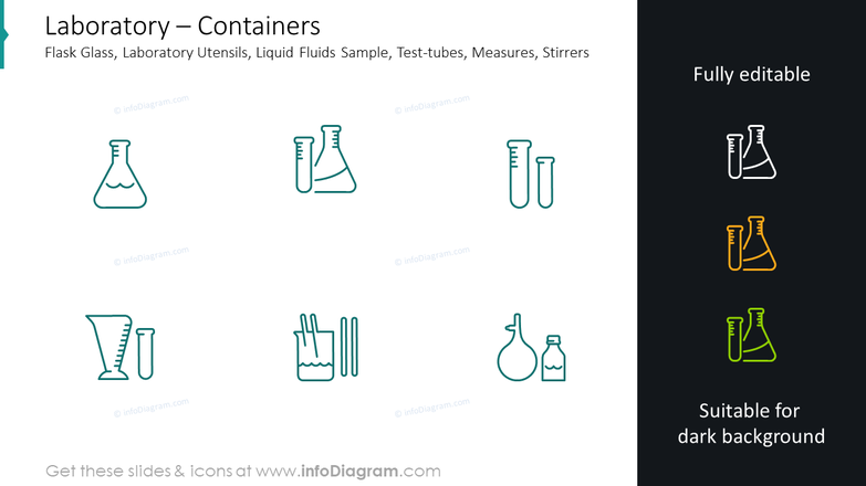 Containers slide: flask glass, laboratory utensils