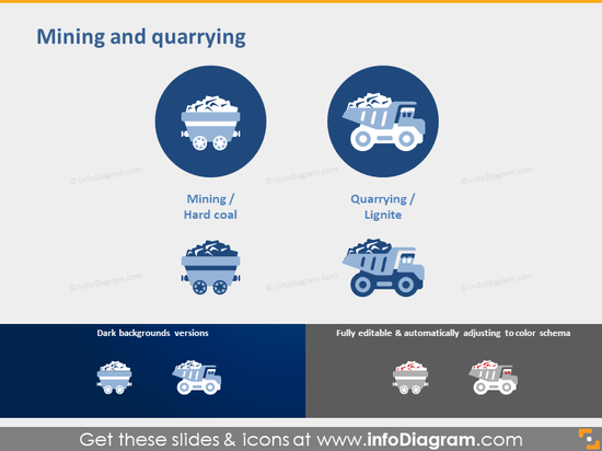 Mining Industry Quarrying Lignite icon powerpoint