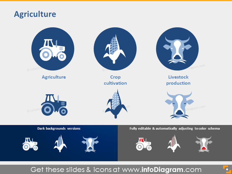 Agriculture icons Crop cultivation Livestock production symbol ppt